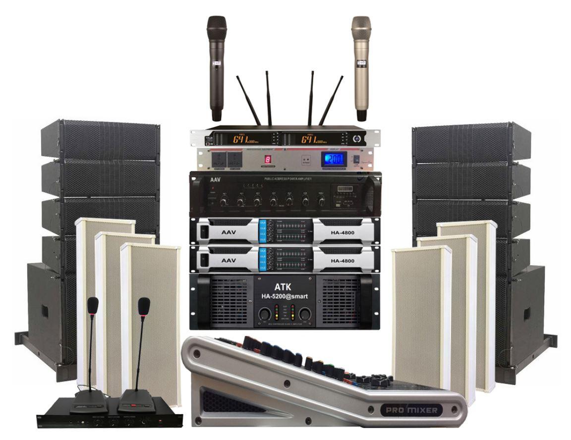 Hệ thống âm thanh nhà văn hóa xã cao cấp, hiện đại - sử dụng loa Line array