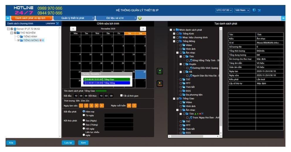 Giao diện chương trình chính của phần mềm quản lý hệ thống truyền thanh